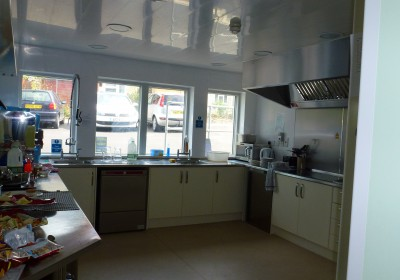Kitchen with stainless steel equipment